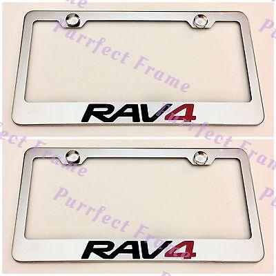 RAV4 3D Emblem Toyota Stainless Steel License Plate Frame Rust Free W// Boltcap