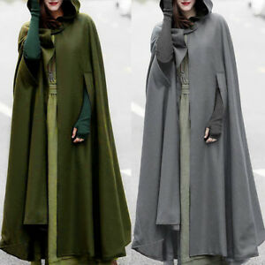 Fashion-Womens-Long-Cape-Cloak-Hooded-Coat-Winter-Outwear-Medieval-Robe-Costume