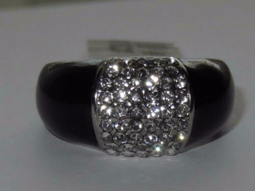 Señoras Anillo Negro 11mm banda CZ Acero Inoxidable Pulgar moderno elegante Grueso 1840