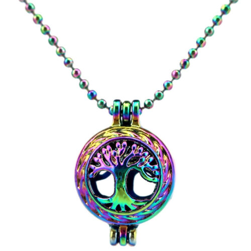 C23 Rainbow Color Tree of Life Locket Chain Necklace