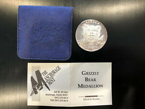 1992-Anchorage-Mint-Grizzly-Bear-Medallion-Silver-Coin-w-Pouch-and-COA-TONED