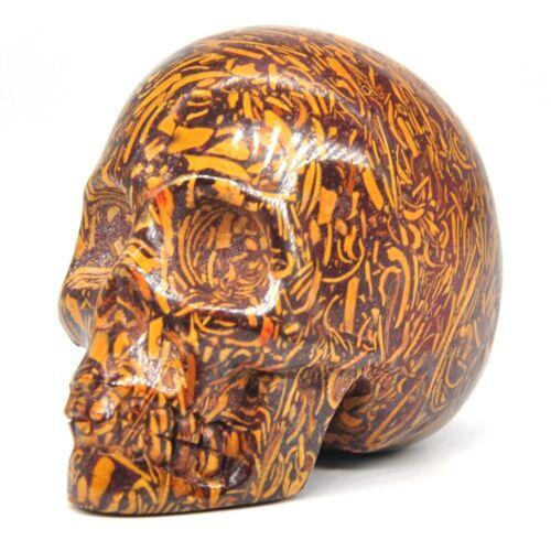 "Skull Head Figurine AAA Fossil Elephant Skin Jasper Halloween Decor Statue 1.9/"""