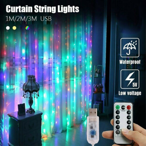 LED Fairy String Lights Curtain Window Wedding Party Decor USB Remote In//Outdoor