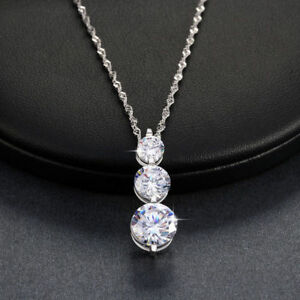 Women-1CT-Crystal-Round-Wedding-Pendant-Necklace-Chain-in-14K-White-Gold-Over