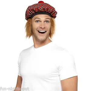 Men-039-s-Tam-O-Shanter-Tartan-Hat-Hair-Pom-Pom-Scottish-Tartan-Fancy-Dress-Stag-Fun