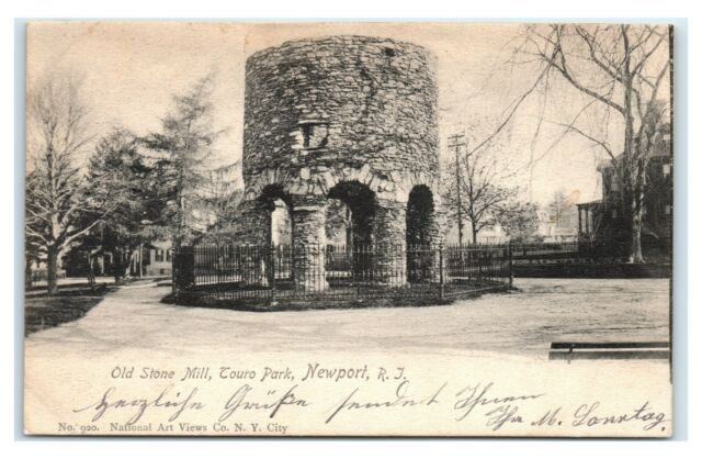 Newport Rhode Island Postcard Vintage Old Stone Mill Touro Park