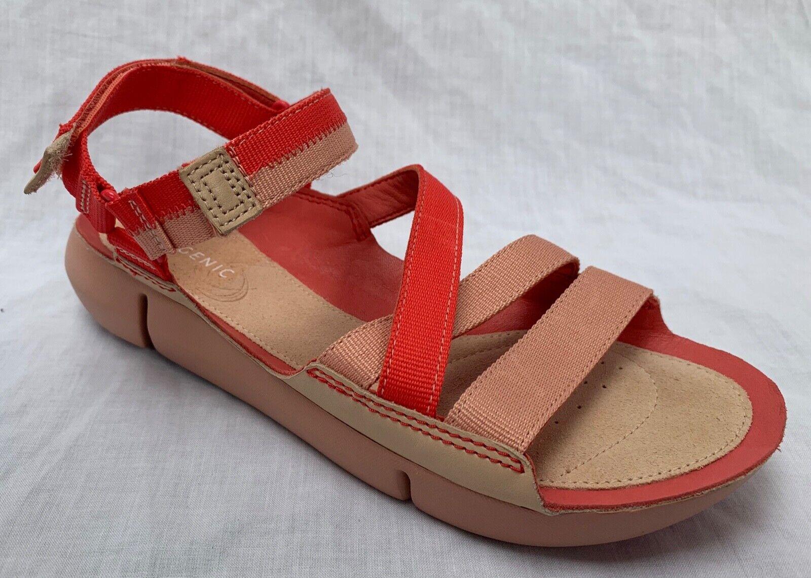 BNIB Clarks Ladies Tri Sienna Trigenic Coral Combi Material Leather Flat Sandals