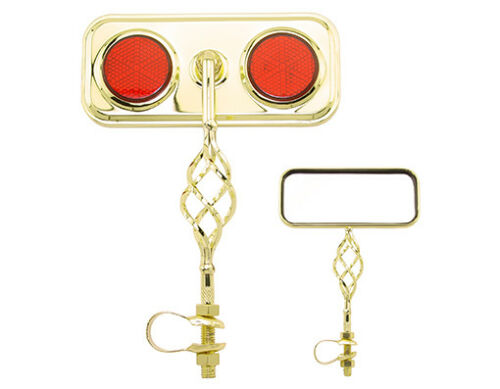NEW Lowrider Bicycle Gold Rectangle Bike Mirror With Twisted Cage All Colors