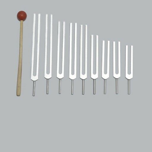 9 Sacred Solfeggio Tuning forks Tuners+Mallet+Fast ship Sound Healing Therapy