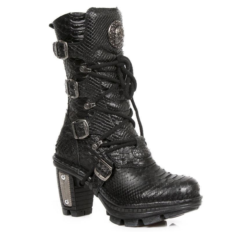Zapatos de mujer baratos zapatos de mujer mujer mujer New Rock NEOTR 005-S19 Negro Python Raw Rock Punk Damas Sexy Cuero Botas 1641c9