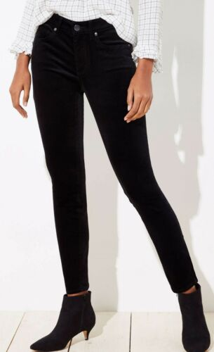 30//10 Ann Taylor LOFT Curvy Velvet Skinny Jeans Pants in Black Size 25//0