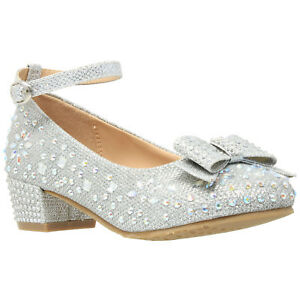 f6ea618164d Kids Dress Shoes Girls Glitter Rhinestone Bow Accent Mary Jane Pumps ...