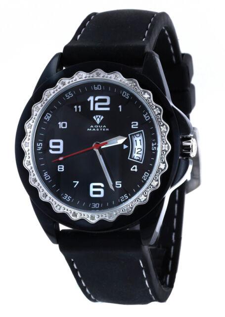 Aqua Master Women's Aluminum Case Black Dial Rubber Band Watch W#334