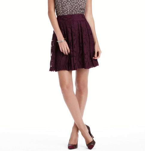 Ann Taylor LOFT Lace Pleated Skirt Size 10P, 12P NWT Deep Cabernet color