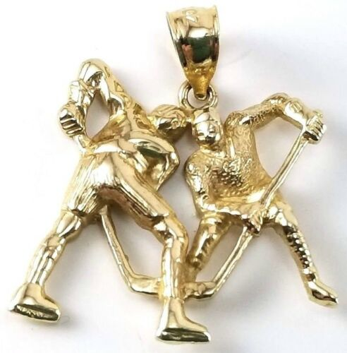 Hockey Players Face-off 14K DZ Solid Yellow Gold C