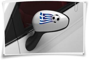 2x Grèce Drapeau Des Autocollants Football Autocollant Sport Em Wm Miroir Capuchons-afficher Le Titre D'origine