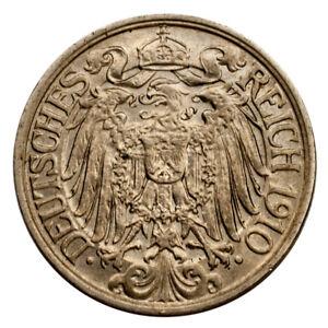 1910-A German 25 Pfennig Brilliant Uncirculated Condition KM #18