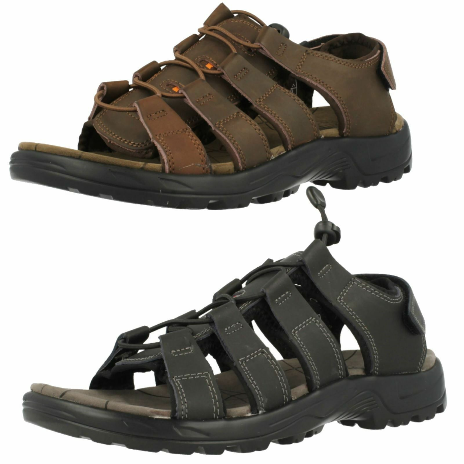 Mens Northwest Kenya Black Or Brown Leather Casual Pull Toggle Sandals