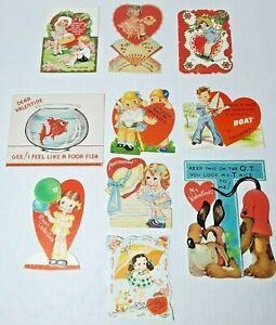 Vtg 1930-40s Valentine Cards Die Cut Lot Of 10 #7 Girls Boys Fish Bowl