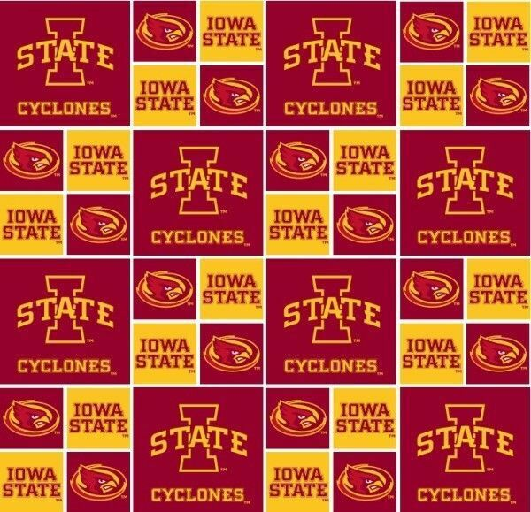 IOWA STATE CYCLONES CIRCLES BLOCKS COTTON FABRIC FQ
