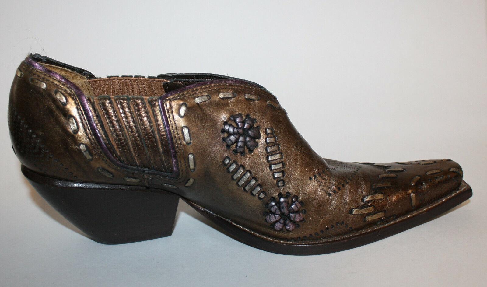 Bronze gold Leather WESTERN WESTERN WESTERN Ankle Boots 6.5B LN Embellished Trim Floral BCBG d823ce