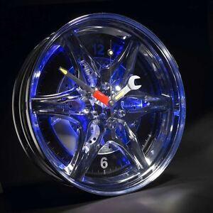 Neon-Alloy-Rim-Wall-Clock-Blue-LED-Light-Border-Car-Wheel-Motoring-Gift-For-Him