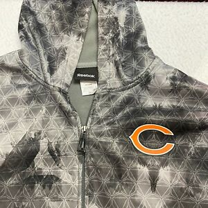 Chicago Bears Reebok NFL Full Zip Digi Camo Gray Size Large Hooded Sweatshirt
