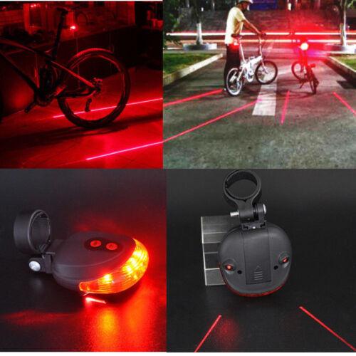 Mountain Bike Red Laser Beam 5 LED Cycling Rear Tail Warning Lamp Safety Warning