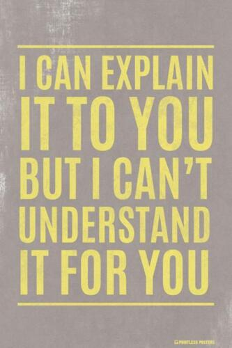 CAN/'T MAKE YOU UNDERSTAND IT POSTER 12x18 FUNNY WITTY PP009 I CAN EXPLAIN IT