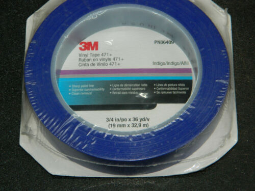 "3M 06409 INDIGO BLUE VINYL HIGH PERFORMANCE TAPE 471 ROLL 3//4/"" INCH x 36 YDS"