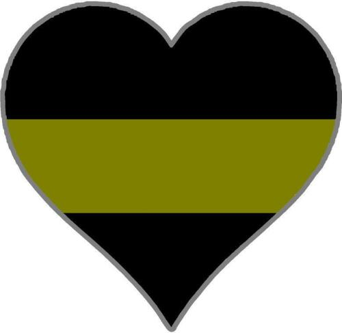 Thin GOLD Line Heart Decal Dispatch Dispatcher 911 9-1-1 Police Law Officer Var