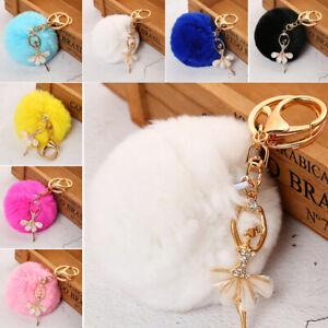 JI-Rhinestone-Ballet-Girl-Pompom-Pendant-Key-Chain-Ring-Holder-Bag-Ornament-N