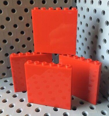 Lego Windows 1x6x5 Red Wall Panel Window Element House Door Lot Of 4