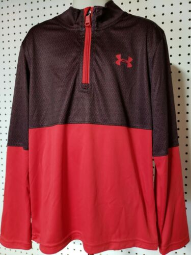 Boys Kids Youth UNDER ARMOUR Long Sleeve Pullover NEW Red Black 3//4 Zip Size 6