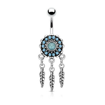 Surgical Steel Belly Button Piercing Dream Catcher Pearl Stitched with Zirconia