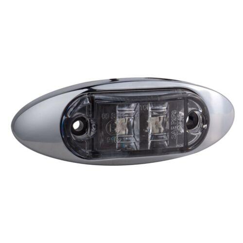 "2.6/"" X 1.5/"" Clear Lens Red LED Clearance Marker Tail Light Lamp DOT Chrome 12pk"