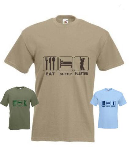 Plafonneur eat sleep plaster drôle t-shirt en toute taille