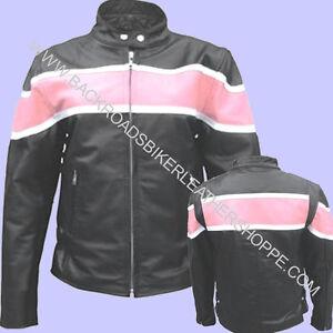 e943a2cdf Details about Ladies Women's Black Leather Biker Motorcycle Jacket W/Pink  Stripe
