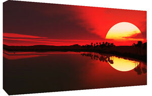 LARGE-RED-SEA-SUNSET-CANVAS-PICTURE-WALL-ART-A1-34-X-20
