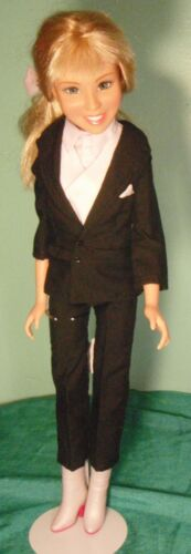"4 pc Black Suit with White Top and Vest for 22"" Hannah Montana Doll HMST01"