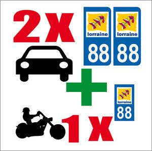 LOT 3 STICKERS 2 x AUTO +1 x MOTO STYLE PLAQUE IMMATRICULATION VOSGES 88