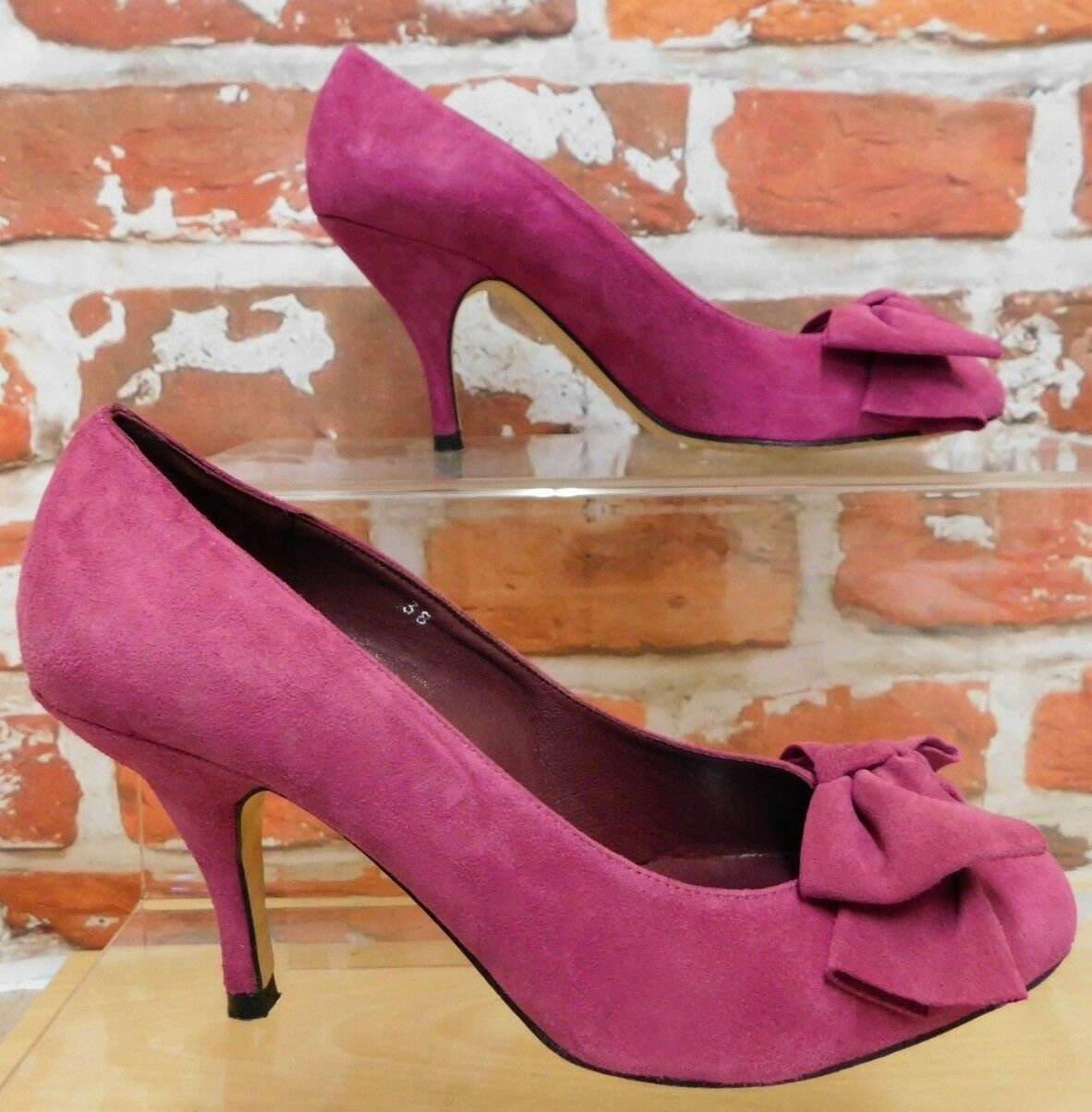 House of Bruar fuchsia suede bow front court shoes stiletto heel UK 5 Hogmanay