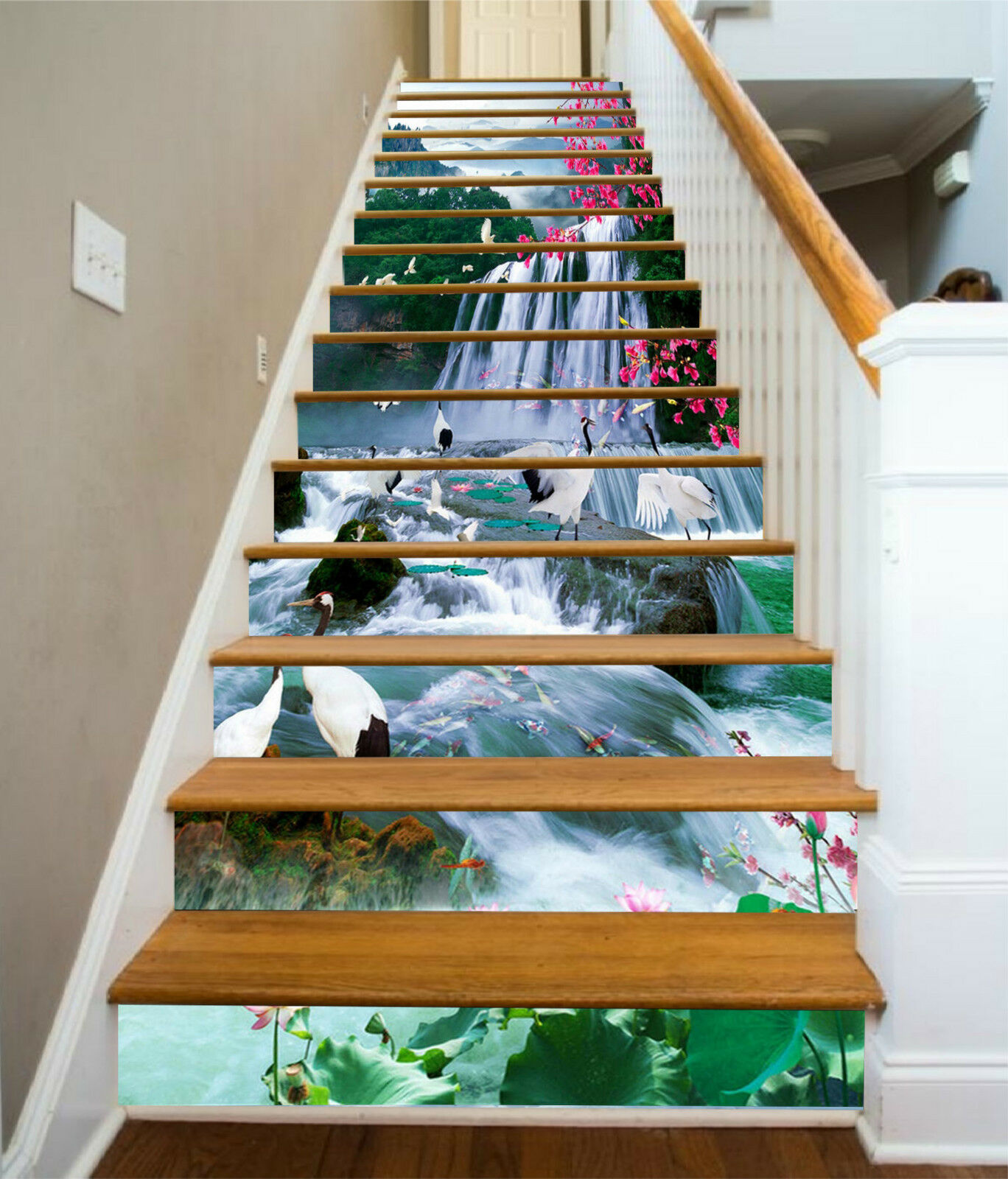 3D Wasserfall 2582 Stair Risers Dekoration Fototapete Vinyl Aufkleber Tapete DE