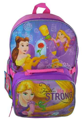 "Princess 16/"" Backpack W INSULATED Lunch bag  pink Kindergarten Nursery School"