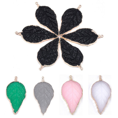 5pcs Electroplate Druzy Resin Leaf Big Pendants Dangle Charms Crafting 56~57mm