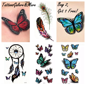Details About Butterfly Temporary Tattoo Henna Feather Dream Catcher Halloween Rose Tattoo