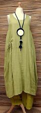 LAGENLOOK 100% LINEN AMAZING SPRING/SUMMER LONG DRESS*PALE LIME*SIZE 12-18
