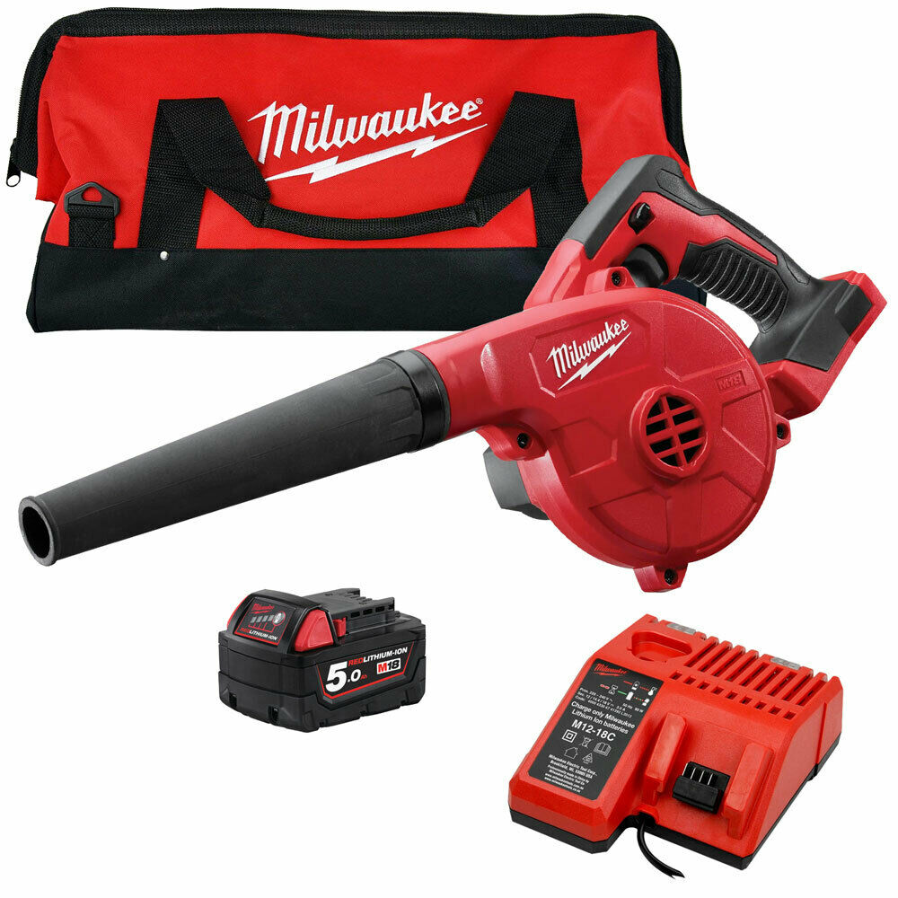 Milwaukee M18BBL-0 18V Compact Blower With 1 x 5.0Ah Battery & Charger in Bag