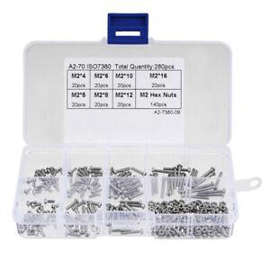 280pcs-M2-304-Stainless-Steel-Hex-Socket-Button-Head-Cap-Bolts-Screws-Nuts-Kit-F