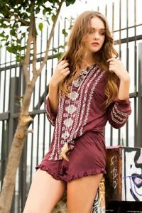 Embroidery Top Lace Up Cotton Pol Real Feathers Front Burgundy Tribal YPUSqwZ